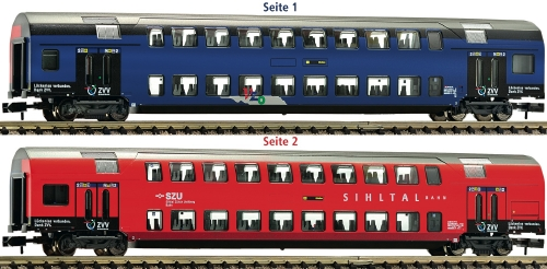 Fleischmann N 2階建客車 2等 チューリッヒ S Bahn 用 ZVV Netz特別色 SBB Ep�Y